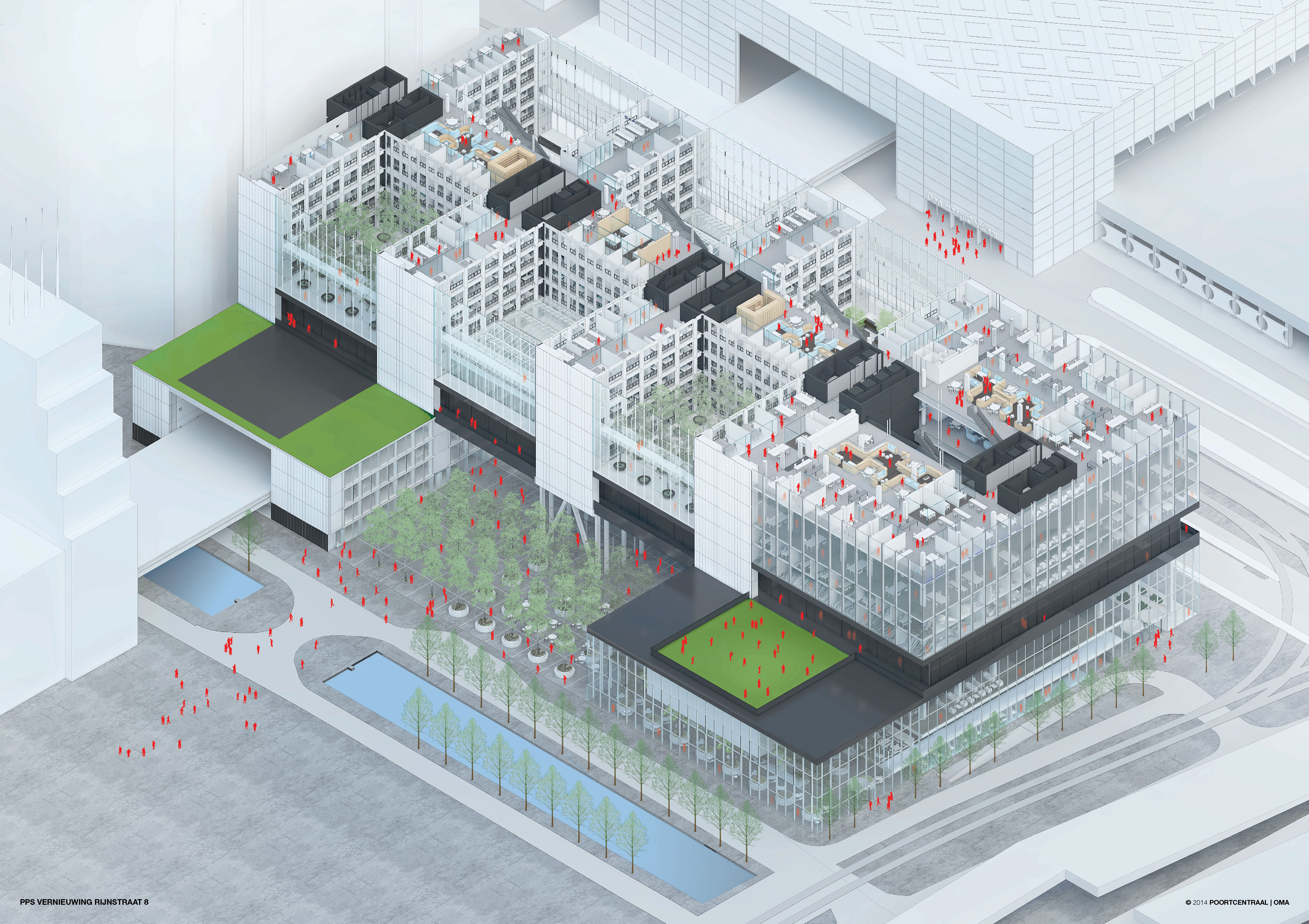 Aerial cut-through view, render by OMA