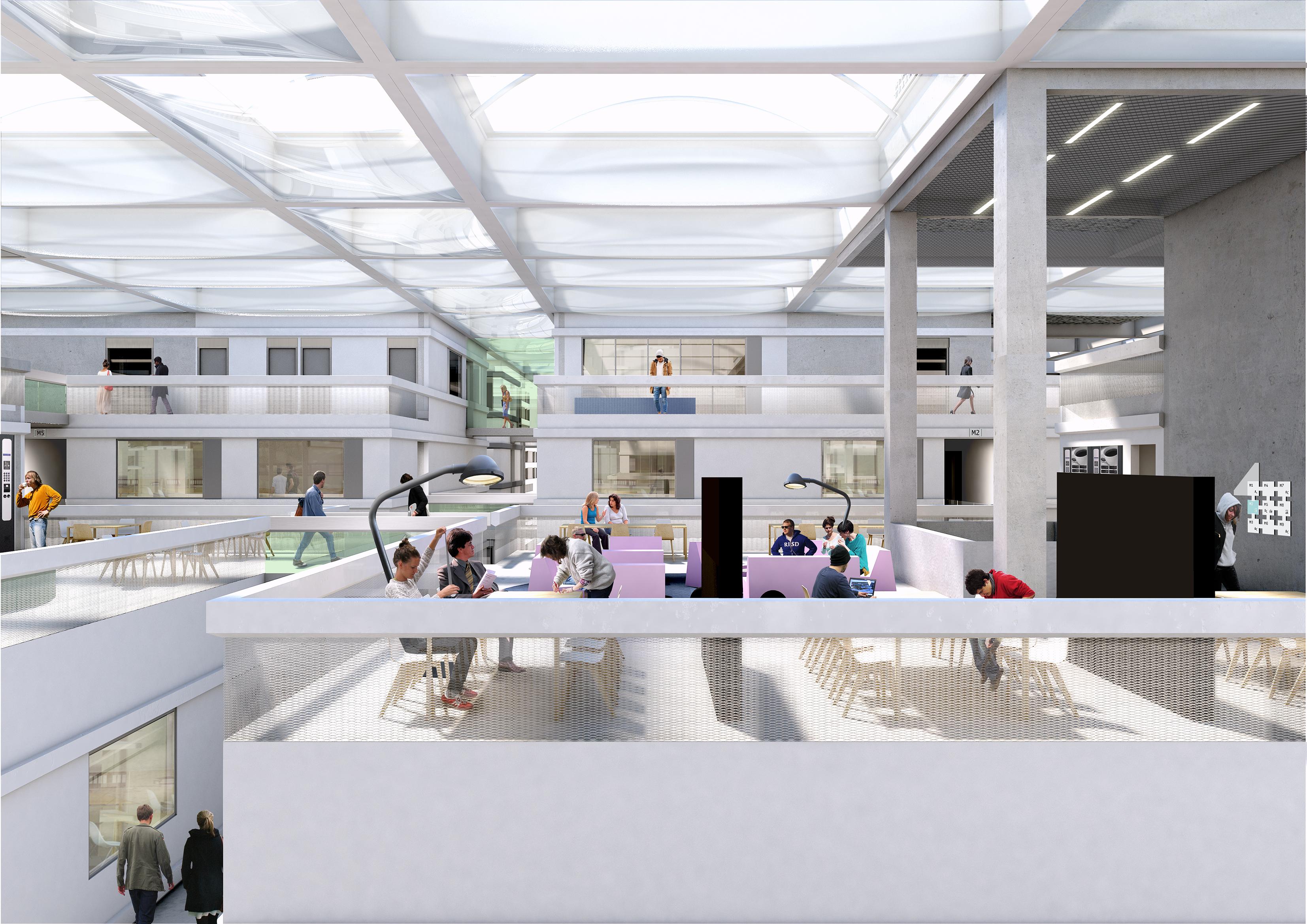 Terrassen met de transparante dakopbouw, render door OMA